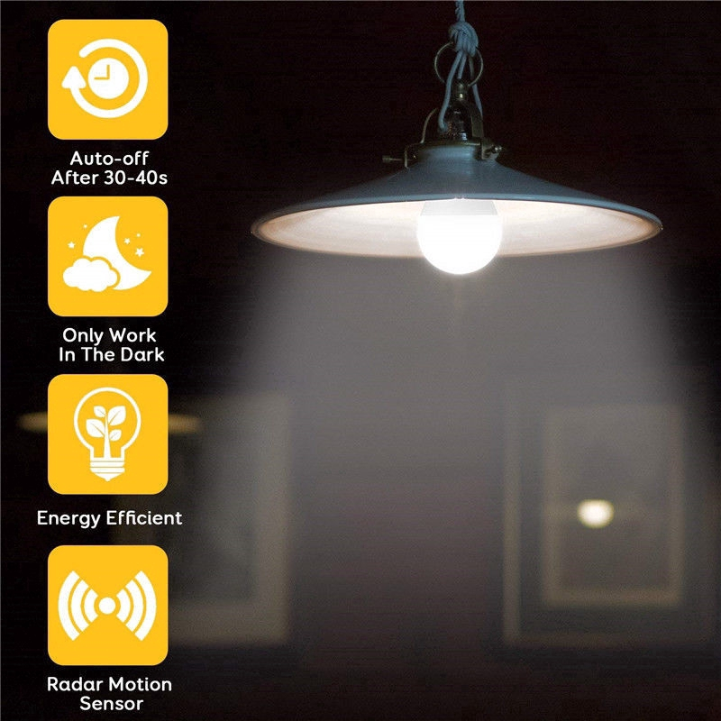 Sensor Radar Light Bulb,Ampoule Ambient PIR Motion Lamp,Auto OFF/ON Lamp