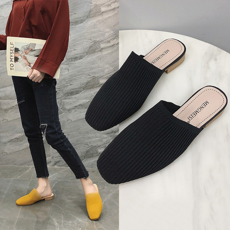 out fashion net red knit mules shoes Korean version of wild sandals and slippers