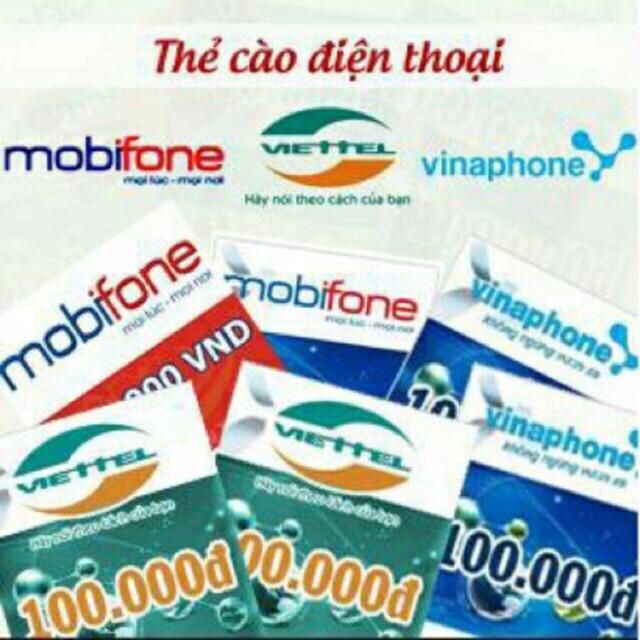 Thẻ cào 100k các mạng ( GỬI MÃ THẺ SAU KHI KHÁCH ĐÃ NHẬN HÀNG)