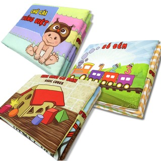Bộ 3 sách vải Pipovietnam (Số đếm + Chữ cái Tiếng Việt + Hình khối)