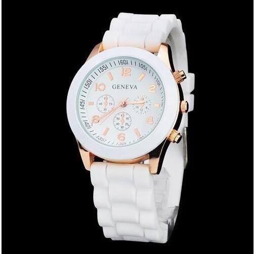 Đồng hồ nữ GENEVA mặt tròn dây cao su có lịch