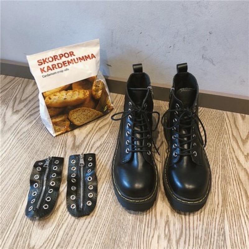 Giày BOOTS KHOÁ KÉO CAO CỔ  ĐI HAI KIỂU ulzzang kèm ảnh thật hình cuối