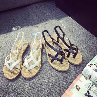 Giày sandal đế bằng thấp thoải mái phong cách bô-hem dành cho nữ