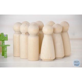 Búp bê gỗ cao 6,5cm – set 10 dolls (5nam + 5 nữ)
