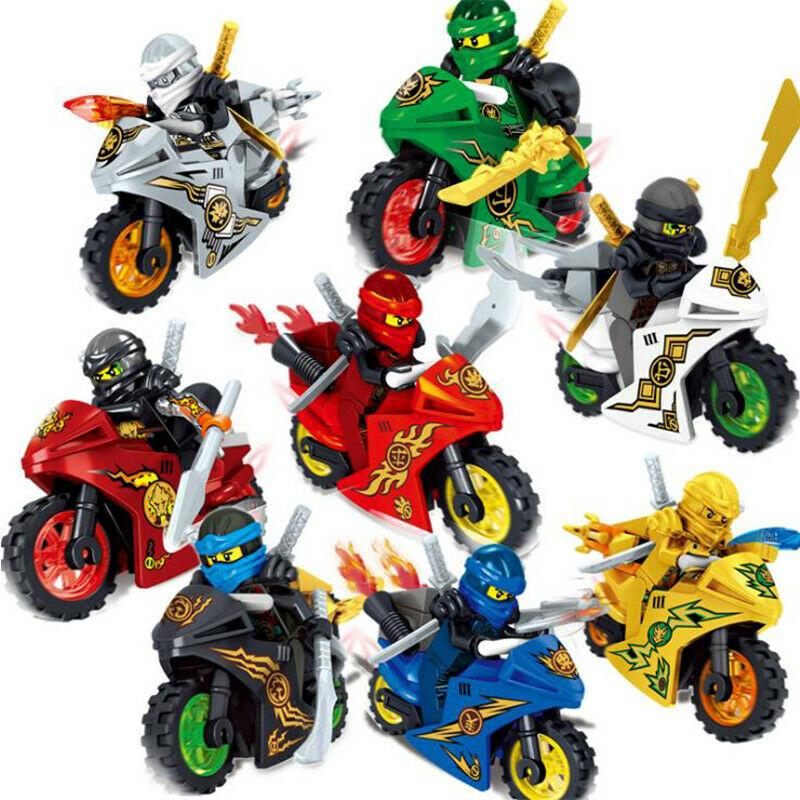 8Pcs Ninjago Motorcycle Set Minifigures Ninja Mini Figures Fits Lego Blocks Toys thumbnail