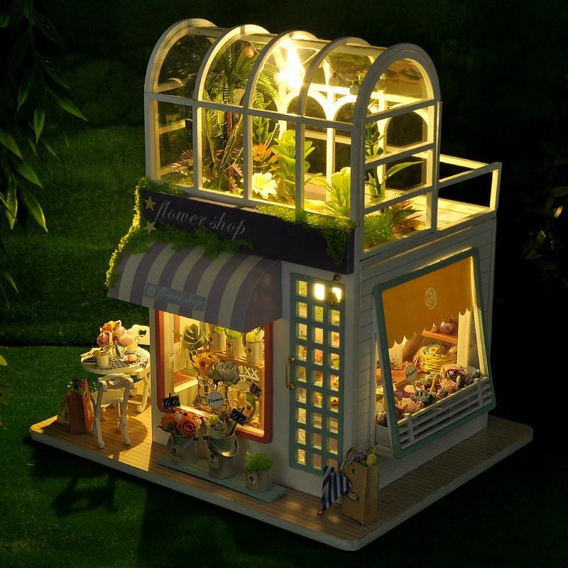 Mô hình gỗ nhà búp bê Flower Shop (mica+keo)