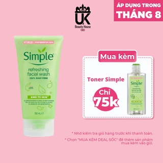[Mã SKAMSALE8 giảm 10% đơn 200K] Sữa Rửa Mặt Simple Gel Kind To Skin Refreshing Facial Wash Gel 150ml