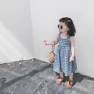 váy hai dây kẻ karo bé gái