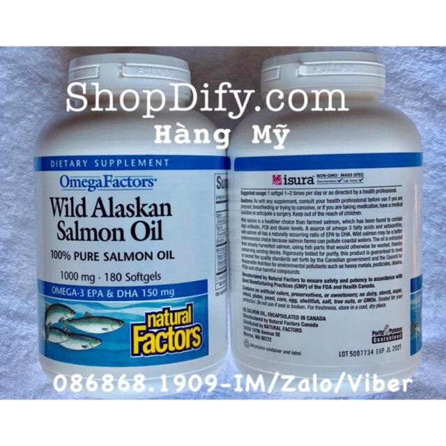 Dầu cá Omega Factors - Wild Alaskan Salmon Oil 100mg 180 viên (2 hộp)