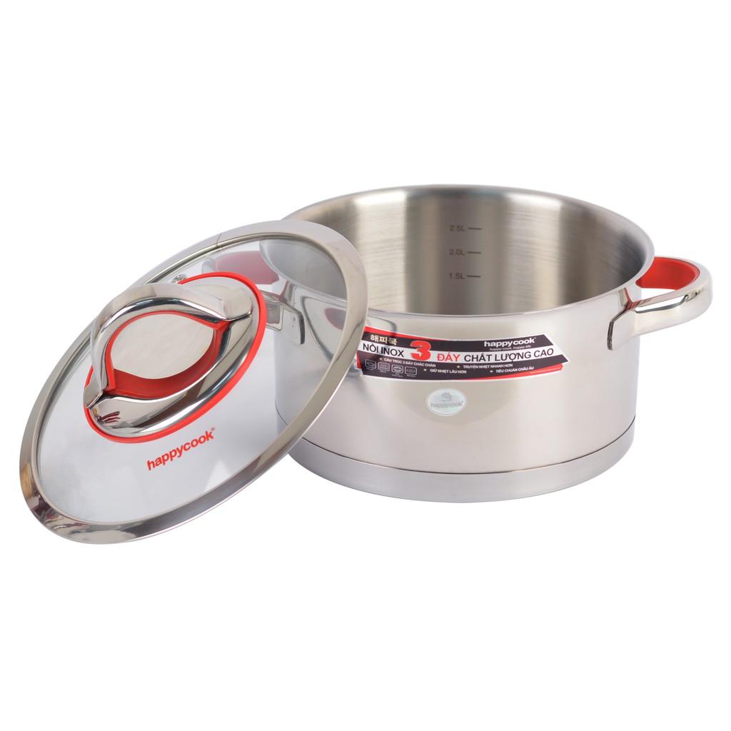 Nồi Inox Cao Cấp 3 Đáy Nắp Kiếng Happy Cook Aries Plus 24cm HC-24ARP