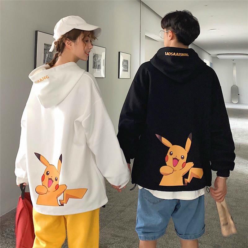 Áo khoác, áo hoodie unisex nam nữ nỉ ngoại form rộng pikachu siêu chất năng động thời trang học đường