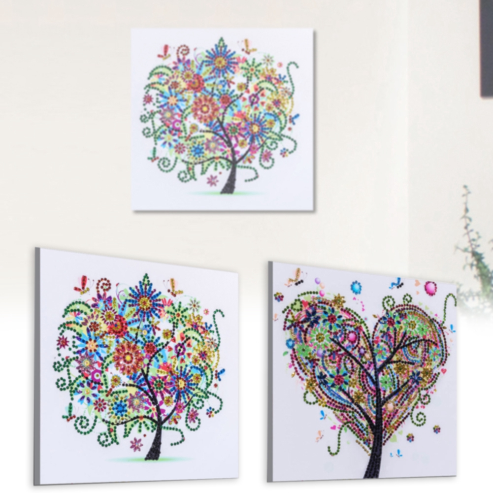25x25cm 5D Rhinestones Cross Stitch Wall Hanging DIY Tree Shape Living Room Ornaments Home Decor Diamond Embroidery