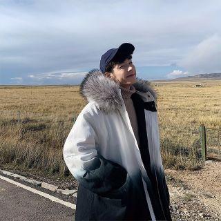 Áo khoác phao màu loang phối mũ lông, cực ấm