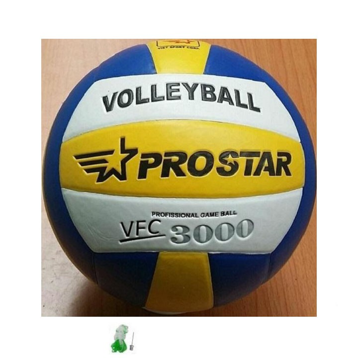 bóng chuyền tặng kim+túi lưới bóng chuyền da cao cấp