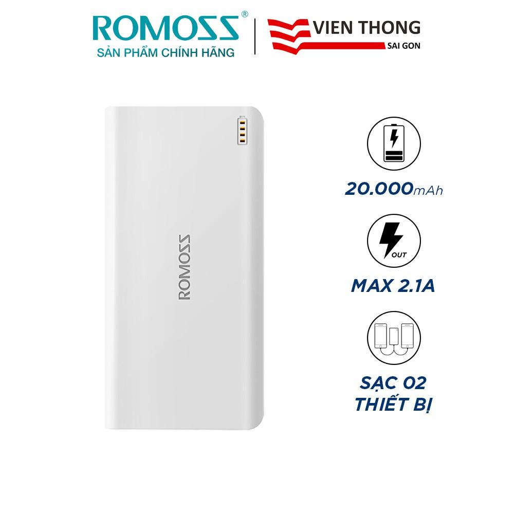 Pin sạc dự phòng Romoss SENSE 6 20.000mAh (Trắng) - Hãng phân phối chính thức