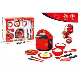 Đồ chơi nồi cơm điện nấu ăn kèm nhiều đồ dùng ,nhà bếp có đèn nhạc, do choi noi com dung pin