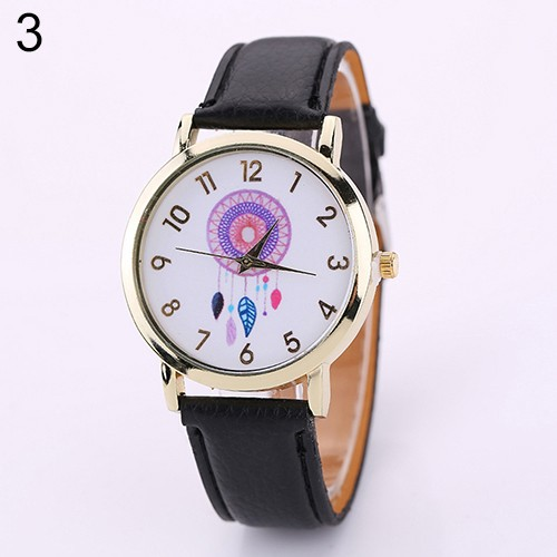 Đồng hồ mặt hình Dreamcatcher dây đeo giả da cho nữ