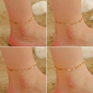 Simple Geometric Hollow Anklet Female Temperament Love Tassel Foot Chain Summer Beach Personality Foot Jewelry thumbnail