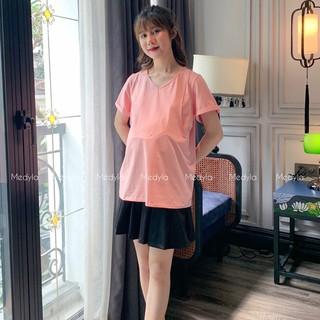 Áo phông trơn có đáp ngực cho bầu thoải mái mặc trong và sau sinh - Áo bầu mùa hè thiết kế Medyla - X21-ACT001 thumbnail