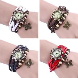 Đồng hồ đeo tay nhiều dây da giả xỏ hạt hợp kim phong cách cổ điển độc đáo cho nữ