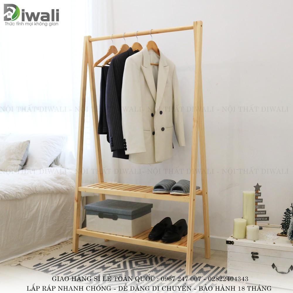 kệ gỗ chữ a 2 tầng tphcm treo quần áo dành cho chung cư, căn hộ, homestay - A HANGER 2F NATURAL