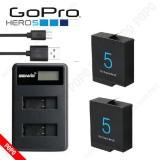 Pin GOPRO Hero 5/6 1220mAh 3.8V(2 viên) + Sạc đôi Gopro Hero 5, Pin GOPRO chất lượng đạt chuẩn EU, đúng dung lượng