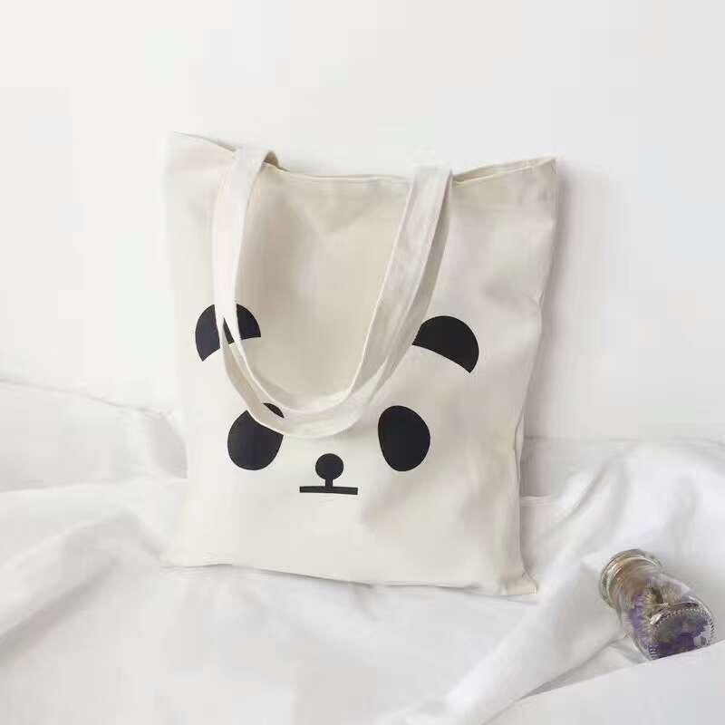 Túi Tote Vải canvas Đẹp Cực Hot có khóa miệng in hình Panda