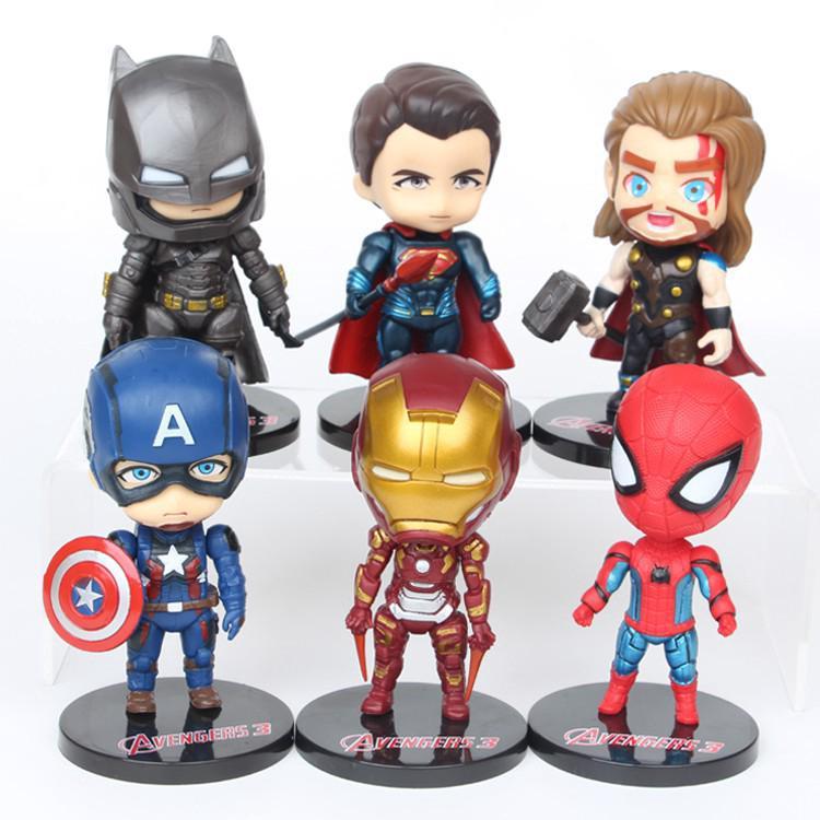 6pcs/set Marvel Avenger American Captain Ironman Superman mini Action figure toy