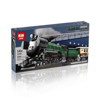 (có sẵn) bộ đồ chơi lắp ráp Lego Car 10194 Lepin 21005 Tàu Hỏa Xanh Ngọc Lục Bảo Chở Khách Có Thể Gắn Động Cơ Pin