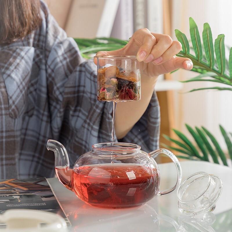 Bộ ấm trà thuỷ tinh có lõi lọc + 6 tách không đế nến
