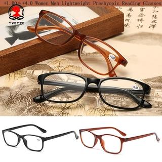YVETTE Men Presbyopia Eyewear Elderly Accessories Eyeglasses Reading Glasses Women +1.00~+4.0 Diopter Lightweight Ultra Light Resin Vision Care/Multicolor