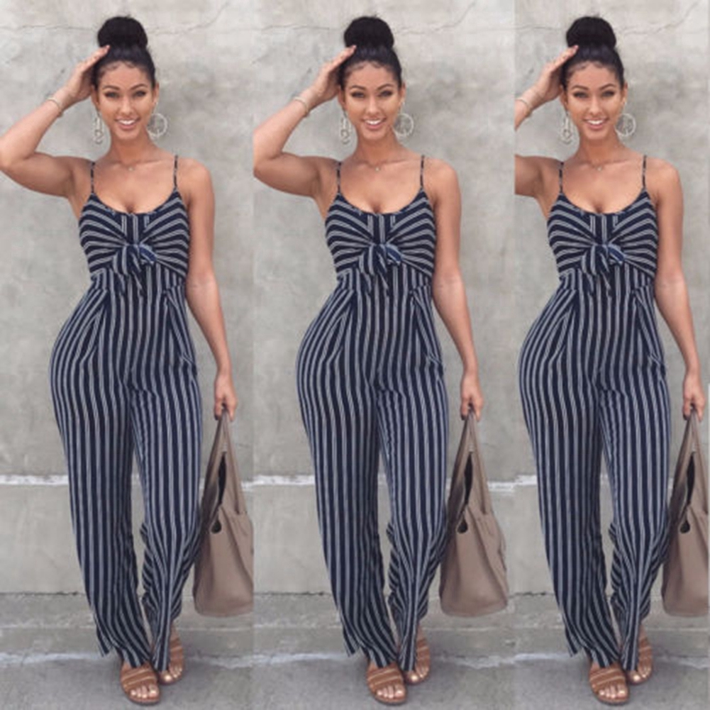 High Waist Summer Wide Leg Spaghetti Strap Jumpsuit Casual Sexy Bowknot Striped Shopping Slim Party Women