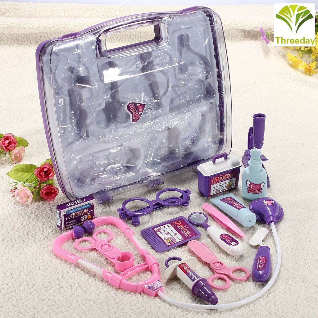 3D❤ Funy Kids Pretended Doctor's Nurse Medical Carry Case Kit Play Toys Set Gift