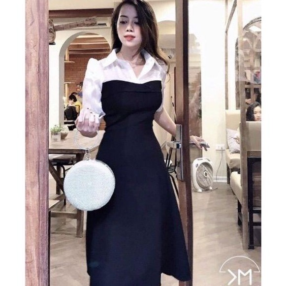 Đầm Xòe Phối Sơ Mi💖FREESHIP💖 Váy Xòe Đen Phối Sơ Mi Đài Loan