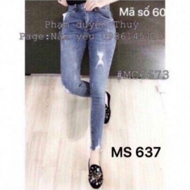 Jeans Nữ Lưng Cao Whash Bạc Rách Xước