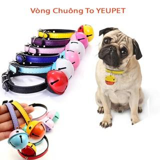Vòng cổ cho chó mèo YEUPET có chuông to nhiều màu sắc, chất liệu da PU cao cấp full size thumbnail