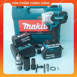 Máy siết bulong Makita 72v, 2 pin, đầu 2 trong 1, 100% dây đồng, không chổi than, TẶNG bộ phụ kiện [CAM KẾT CHÍNH HÃNG]