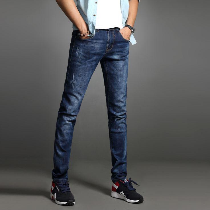 Quần jean nam cào nhẹ VNXK vải cao cấp không phai giữ phom, quần dáng côn co giãn nhẹ