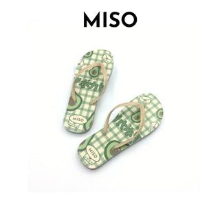 Dép xốp xỏ ngón hình trái bơ nổi bật đế bằng êm chân dạo phố đi biển Miso 1021