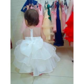 váy công chúa bé gái trắng voan (8-33 kí )
