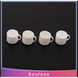 Dollhouse Miniature Coffee Tea Mugs Cup with Handle Kitchen Cafe Shop Drink Supply 12th Scale Pack of 4pcs