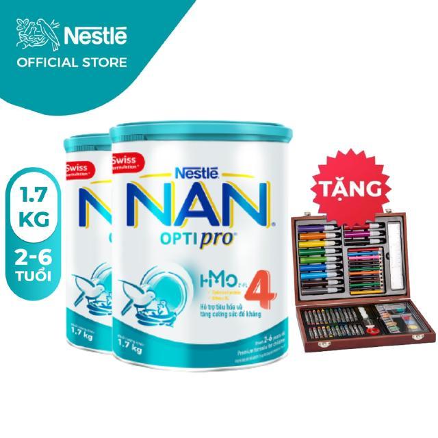 Combo 2 Lon Sữa Bột Nestle NAN Optipro 4 1,7kg/lon [Tặng 1 Bộ chì màu hộp gỗ]