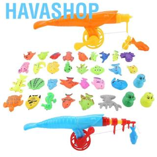 Havashop 39pcs/set Magnetic Fishing Toy Fish Rod Net Set Playing Game Educational Toys Baby Kids Gift