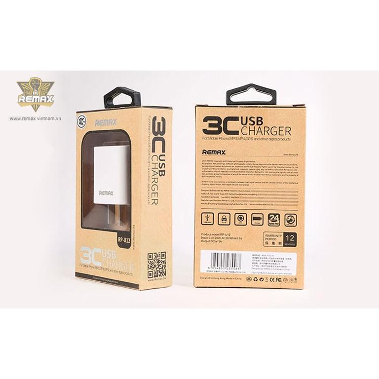 Củ sạc siêu nhỏ gọn Remax RP-U12 - Hỗ Trợ Sạc iPhone/Android 5V/1A - Chip ổn định dòng - Chính Hãng