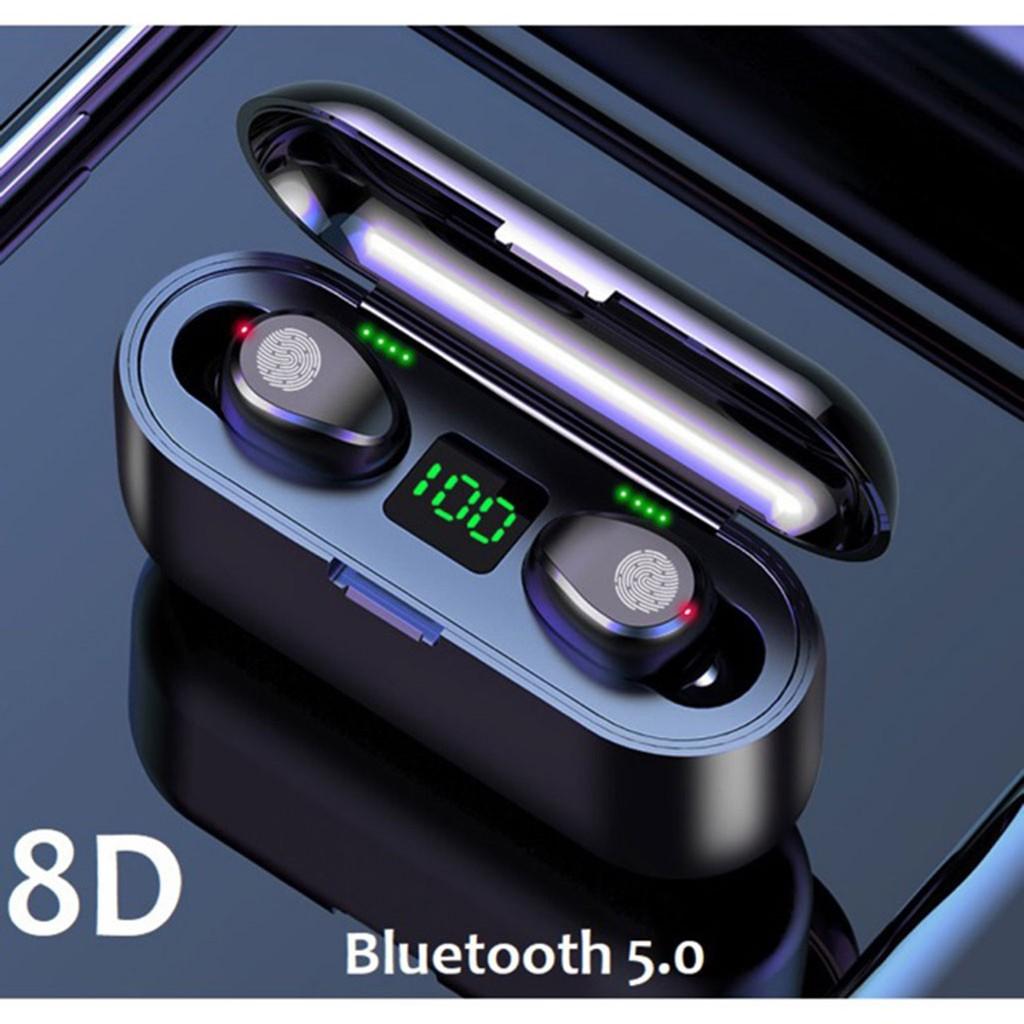 Tai nghe TWS Amoi F9 BẢN QUỐC TẾ, nút cảm ứng, Pin 280h, chống nước IPX7 + Kèm củ sạc nhanh 3 cổng USB