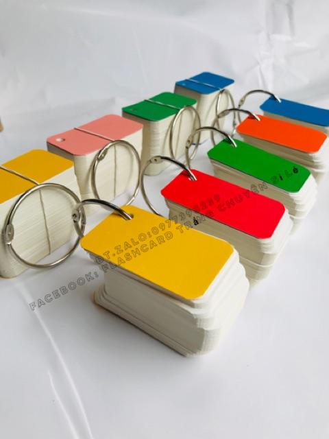Flashcard thẻ học từ vựng tiếng anh nhật hàn trung cao cấp | Bộ thẻ học tiếng nước bo góc đục khoen 4x7cm