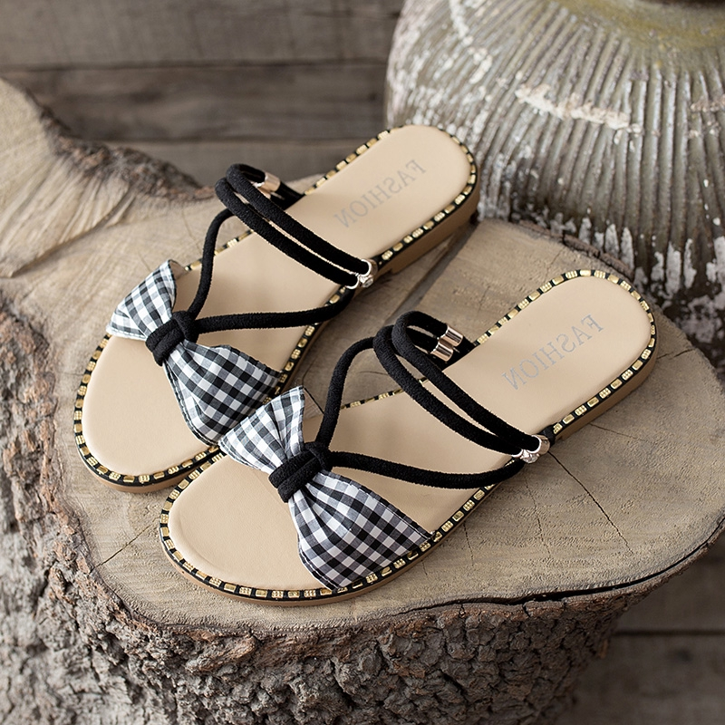 ✺◄✱Slipper sandals two wear women's summer 2019 new fashion outside wearing cute ins cool drag flat bottom wet water Ro