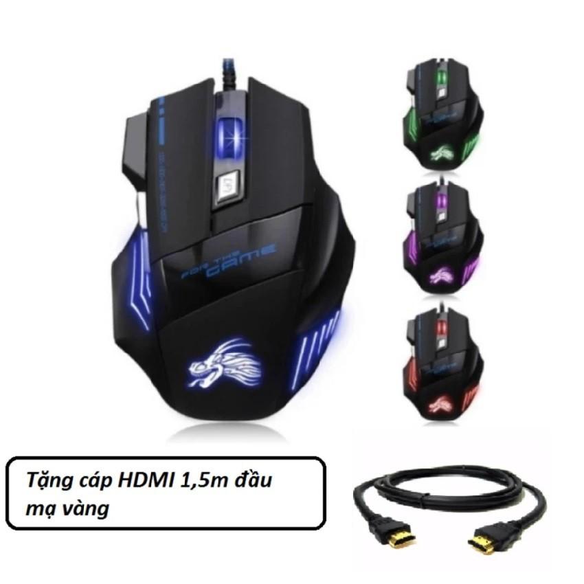 Chuột chơi game có dây Dragon X3 (Đen phối xanh) tặng cáp HDMI 1,5m -dc1250