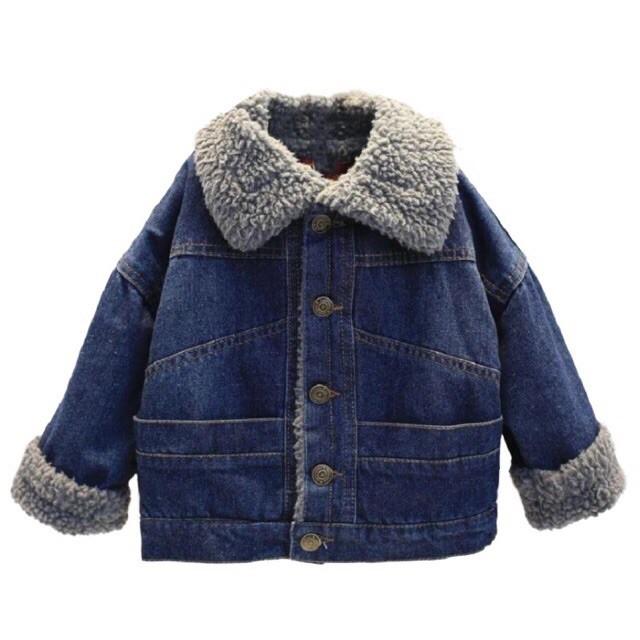 Áo khoác jean lót lông cho bé trai và gái
