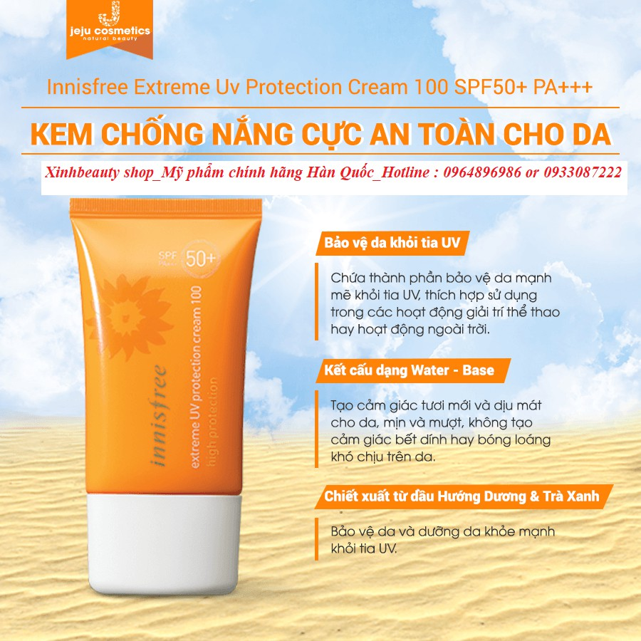 Kem chống nắng cường độ cao Innisfree Extreme Uv Protection Cream 100 High Protection SPF50+ PA+++